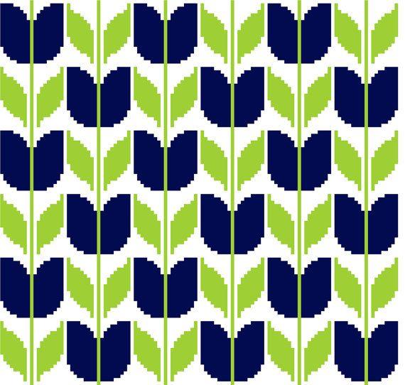 Retro inspired blue tulips. Modern cross stitch. Contemporary cross stitch repeat pattern.