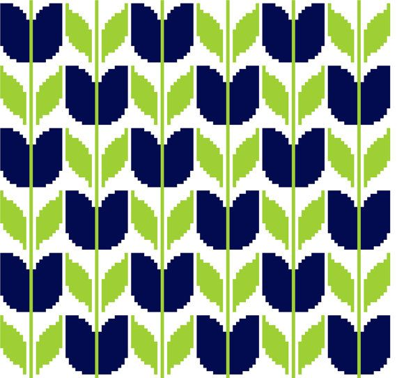 Retro inspired blue tulips. Modern cross stitch. Contemporary cross stitch repeat pattern.