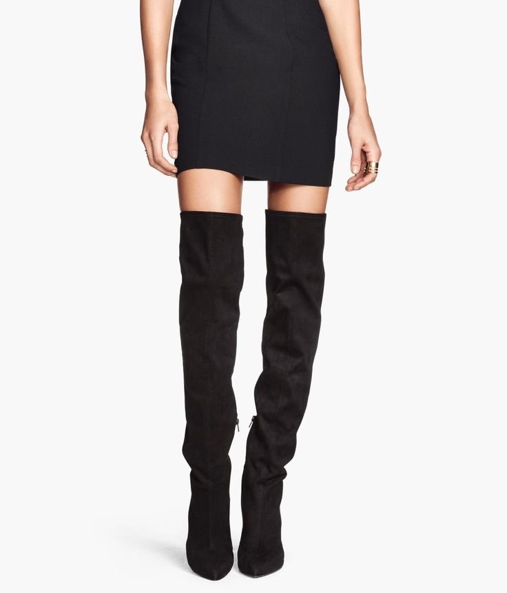 Black faux suede over-the-knee boots with pointed toes. | H&M Shoes