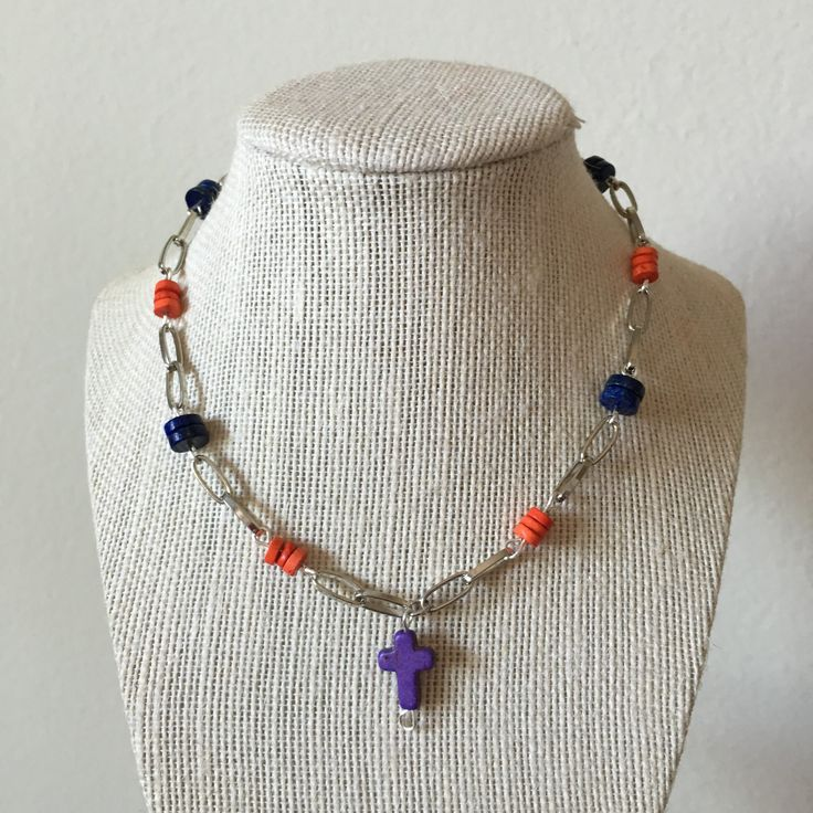 Short colorful cross necklace by MaxAna x