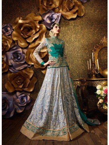 Grey Colored Embroidary #Banarasi #DesignerLehengas on Godomart Online Shopping Store