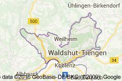 Karte von Waldshut-Tiengen Deutschland