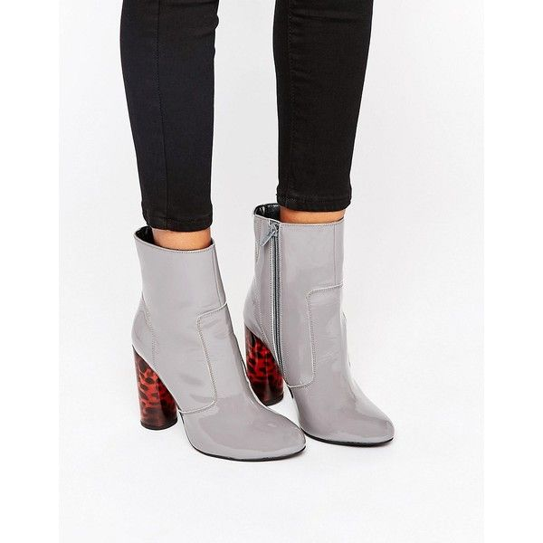 Office Animal Sock Heeled Ankle Boots ($130) ❤ liked on Polyvore featuring shoes, boots, ankle booties, grey, grey leather boots, high heel ankle boots, short leather boots, high heel booties and gray booties