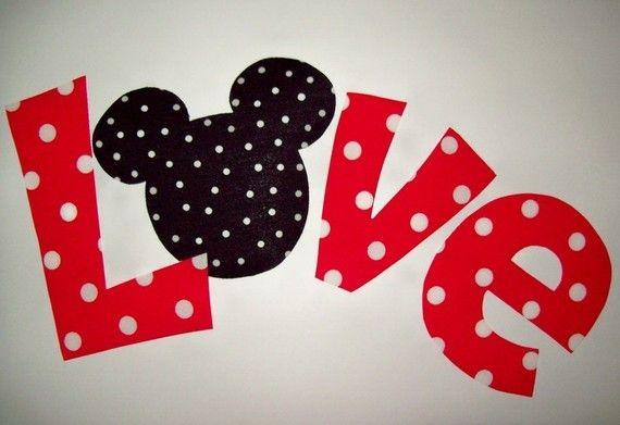 Fabric Applique PDF TEMPLATE Pattern Mickey Minnie LOVE