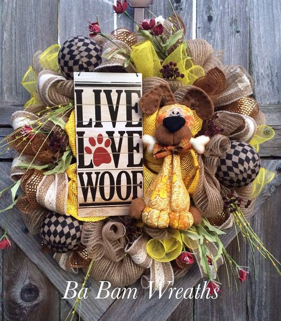 RESERVED Everyday Wreath All Season Wreath Dog by BaBamWreaths