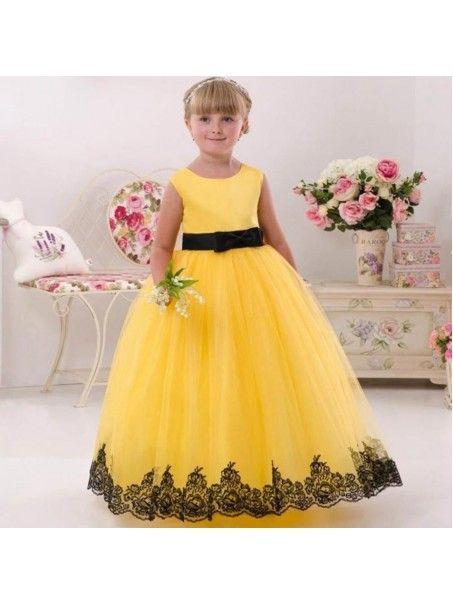 Floor Length Yellow Black Lace Princess Ball Gown Flower Girl Dresses  5501057 62004e6cc61c