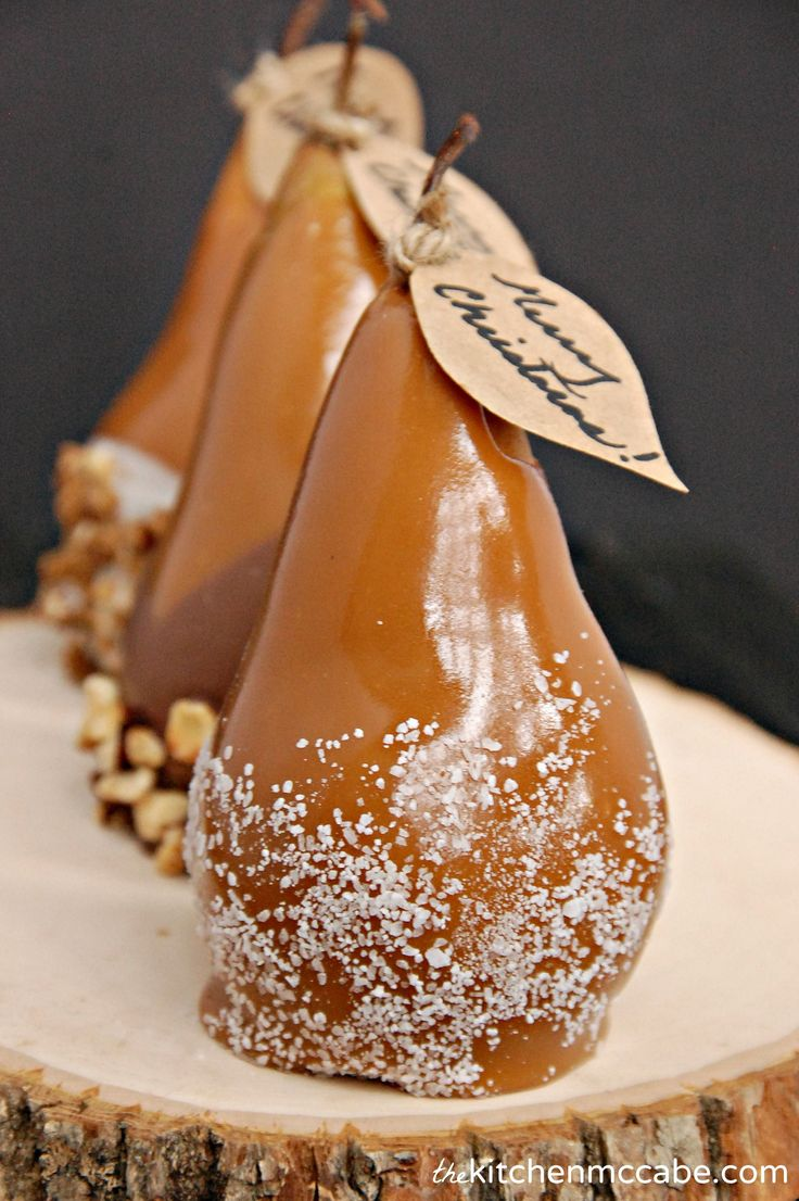 Giftable caramel dipped pears with chocolate,hazelnuts, and leaf gift tags