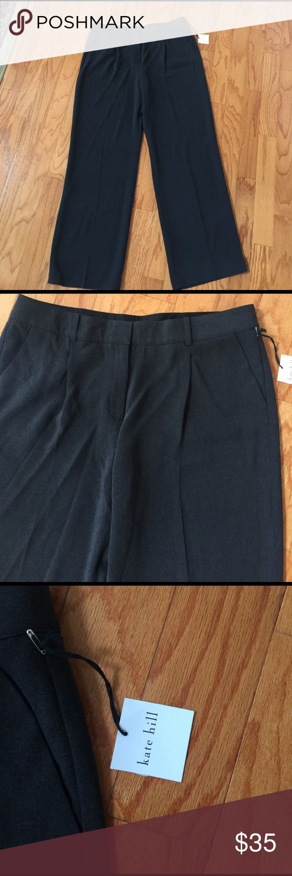 """NWT charcoal grey career pants KATE HILL sz 16 NEW WITH TAGS!!   Ladies charcoal grey career pants from KATE SPADE  Size 16  Waist: 36""""   Hips: 50""""   Rise: 13""""   Inseam: 33.5""""  Hook & zip fly fastening. Slant front pockets & flat hip pockets. Pleated front.  Shell: 51% polyester, 49% acetate.  In perfect New With tags condition.  MSRP $98  From a smoke free home. Kate Hill Pants Trousers"""