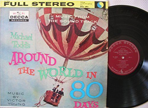 """VICTOR YOUNG [Composer] ~ 1957 """"Around the World in 80 Days"""" commercial stock STEREO vinyl album release of original soundtrack (Decca DL 79046) in NEAR-MINT COND. (no marks, no scratches, no fingerprints).  The film starred Cantinflas, David Niven, and Shirley MacLaine.  ($39.99)  Amazon.com"""