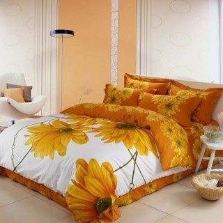 Graceful Orange Flower Pattern 4-piece Cotton Queen Size Bedding Set