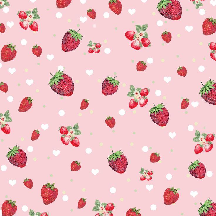Free Digital Scrapbook Paper Retro Kitschy Strawberry