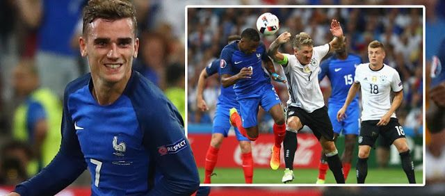 Germany 0-2 France: Griezmann double sends Les Bleus through to Euro 2016 final   France wipe out Germany from Euro 2016  Germany 0-2 France: Griezmann double sends Les Bleus through to Euro 2016 final  The Atletico Madrid star scored either side of the interval as the hosts downed the world champions to set up a clash with Portugal at the Stade de France on Sunday Antoine Griezmann scored both goals as France beat Germany 2-0 to reach the Euro 2016 final on home soil. The Atletico Madrid…