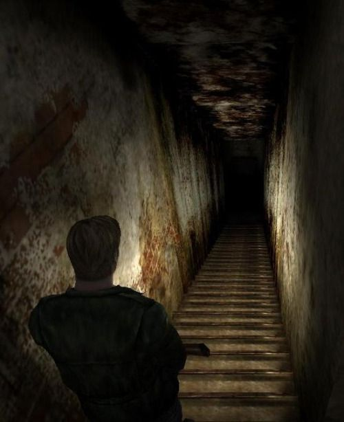 """Silent Hill 2."" I love when the stairs mess with you in this series. And it's because of THESE stairs that I took extra long before even entertaining the thought of turning around and going back on the ""Downpour"" stairs; I thought they just needed a bit of time and patience. XD"