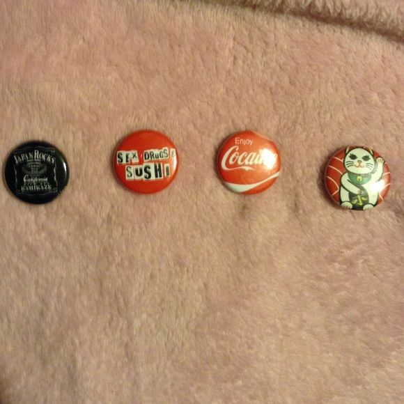 Little Tokyo pins Japan rocks in the style of Jack Daniels pin, sex, drugs, & sushi in the style of the burn book from mean girls pin, enjoy cocaine in style of Coke soda pin, & good luck kitten pin since these cost like 3 dollars each it's kinda gonna be pricy Hot Topic Other