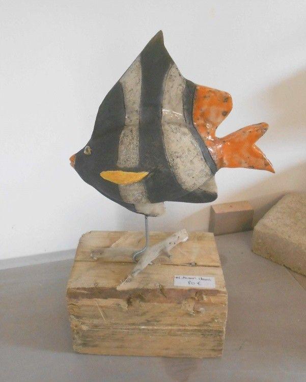 poisson-clown.jpg - Sculpture,  20x25 cm ©2013 par Armelle Colombier -                                                            Art déco, Céramique, Poisson, poisson raku