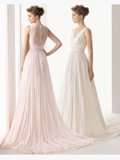White/Pink A Line V-Neck Lace 2014 Wedding Dresses ...