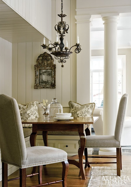 .: Dining Rooms, Breakfast Nooks, Planks Wall, Neutral Palette, Kitchens Nooks, Dining Spaces, Atlanta Home, Breakfast Tables, Elegant Dining