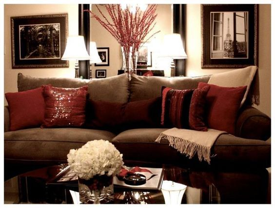 Captivating Neutral Walls Brown Couch And Burgundy And Tan Accents
