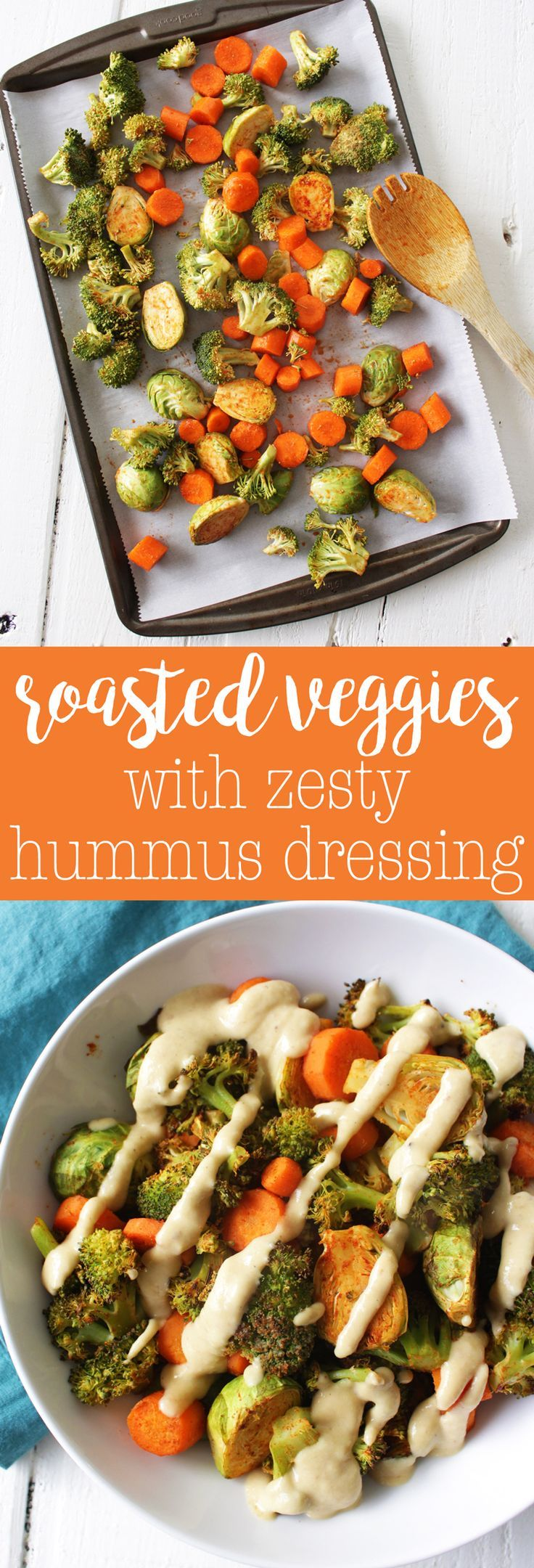 Roasted Veggies with Zesty Hummus Dressing - easy vegan side dish or lunch! Perfect for meal prepping and SO TASTY.   HCLF Vegan   Oil-free via @thecrunchychron