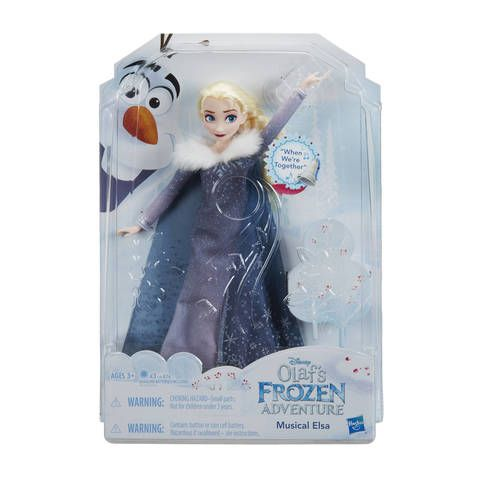 "Elsa plays the melody to ""When We're Together"", a song about the joy of celebrating the holidays together! With a style inspired by the Disney animated short film event, Olaf's Frozen Adventure, this Elsa doll features a shimmery silver dress and a matching pair of shoes. Little dreamers can hum along to the melody of ""When We're Together"" with Elsa. Press the button on her stomach to hear the music and discover the true meaning of the holiday season thro..."