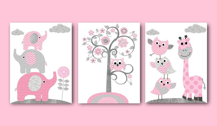 Playroom Decor Pink Gray Giraffe Elephant Nursery Decor Baby Girl Nursery Art Print Kid Art Kids Room Decor Children Art Print set of 3