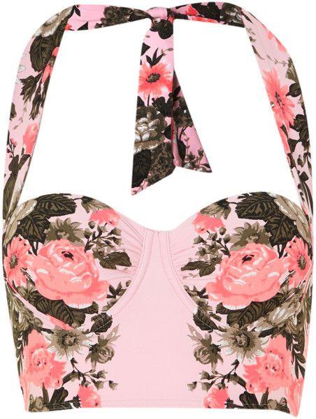 Bella Rose Long Line Bustier Bikini Top - Lyst