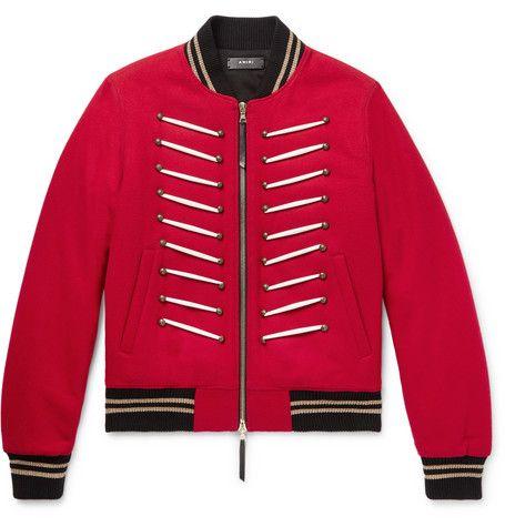 Bomber Jacket Amiri Wool amiri cloth Blend Embellished wgxHOq