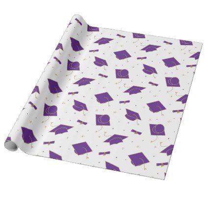 Purple Graduation Cap Toss Wrapping Paper | Zazzle.com