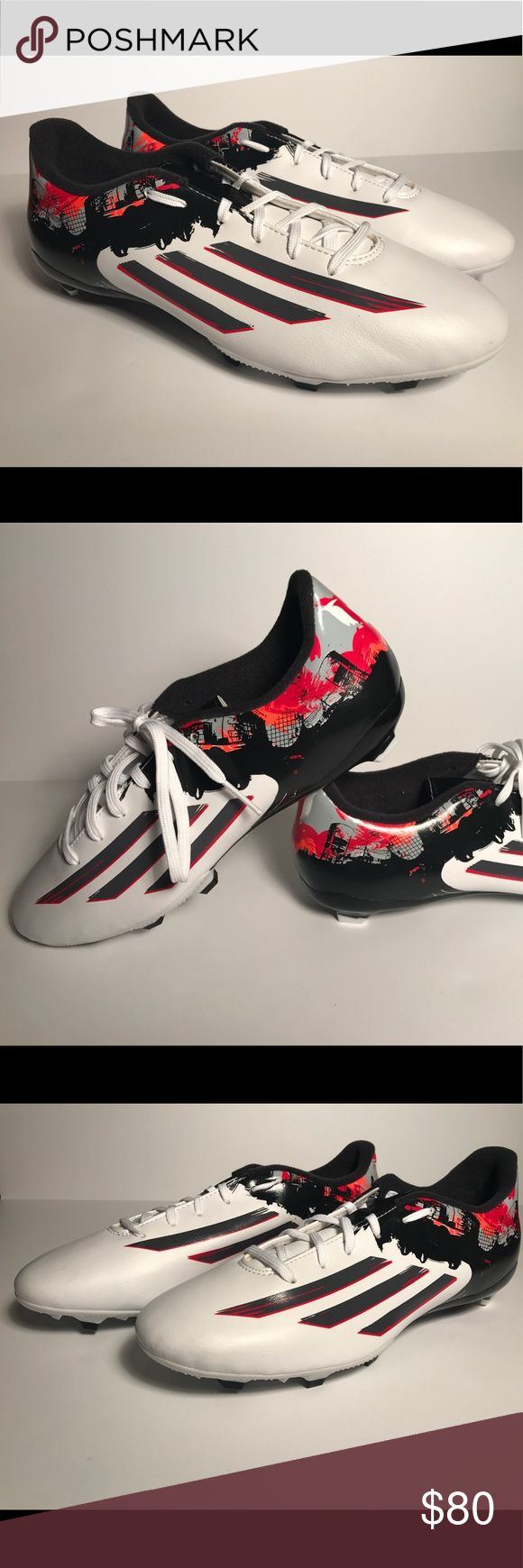 Adidas Messi Pibe de Barr10 10.3 soccer cleats 9.5 Brand new. Never worn. Size 9.5 B23766 Lionel Messi shoe inspired by the graffiti in his neighborhood.  White/sharp grey/light scarlet  Firm-ground soccer boots/ shoes Die-cut EVA insole No box. adidas Shoes Athletic Shoes