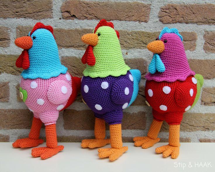 Stip HAAK: Kakelbonte kippen funky and cute kawaii amigurumi crochet polka dot chickens, they're so cool