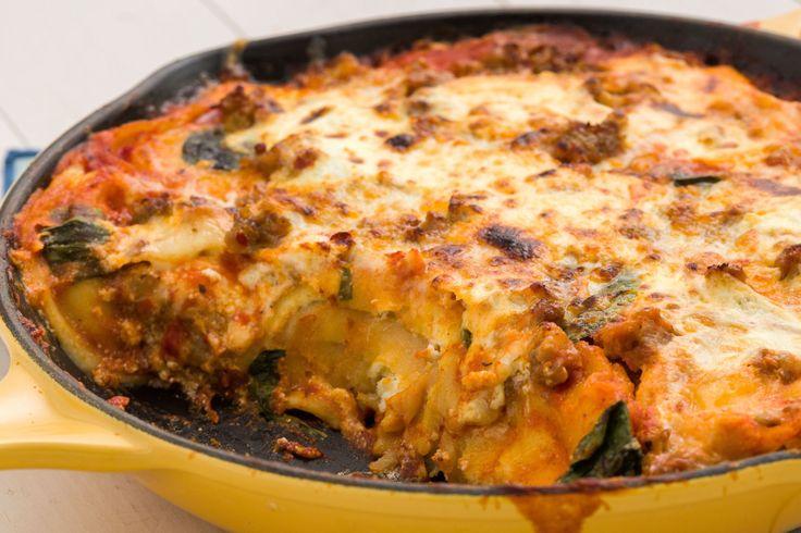 Skillet Ravioli Lasagna with Spicy Italian Sausage
