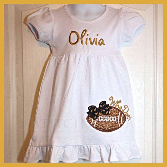 Who Dat Glitter Football Dress by StitchNOLABoutique on Etsy You can also request a custom order