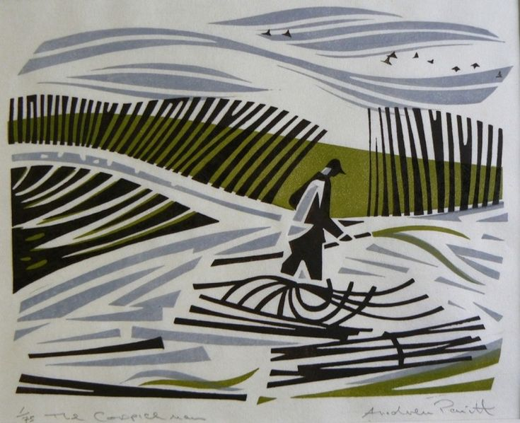 """The Coppice Man"" by Andrew Pavitt (linocut)"