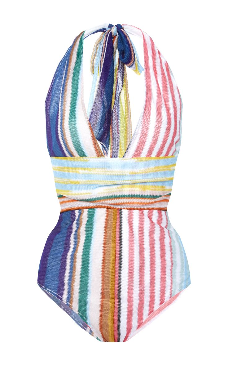 V-Neck Halter Swimsuit by MISSONI MARE Now Available on Moda Operandi