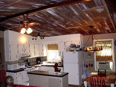Rusted Barn Tin Ceiling | Rustic Ceiling Ideas | Hiawassee Chalet Rental:  July/august