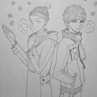 """Randomly scribbled these two dorks in winter clothing because I just want cold weather already....////kicks myself// I don't even like the cold, I just love wearing sweaters and hiding under warm blankets. ^^"" ~ hikarutori.paigeeworld.com  #onepunchman #anime #genos #drawing #illustration #opm #fanart #traditionalart #saitama ~ Joe"