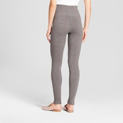 Women's Heathered Cotton Blend Fleece Lined Seamless Legging with 5 Waistband - A New Day Gray Heather S/M