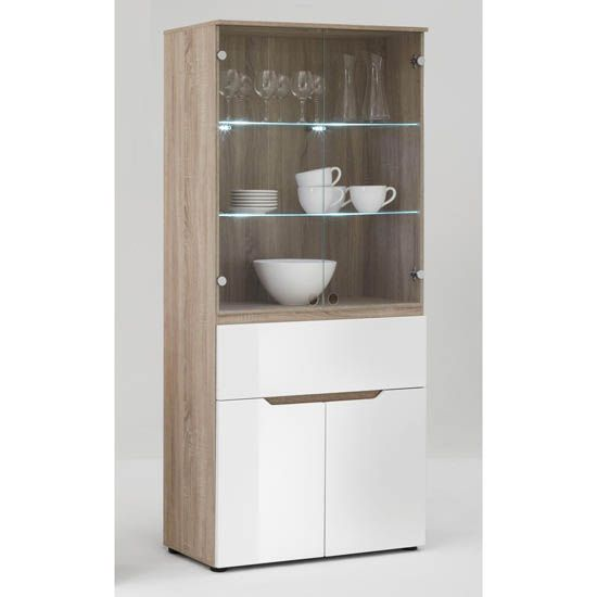Tall Lighted Display Cabinet In Gloss White Oak