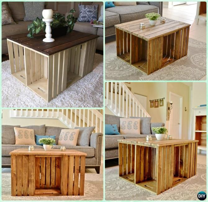 Diy wine wood crate coffee table free plans six crate for How to make a coffee table out of crates