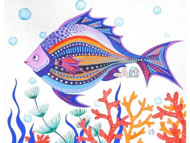Fish ORIGINAL Painting Kids Wall Art Sea by NurseryRoomDecor, $20.00