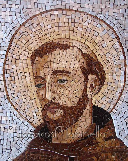 Detalhe do rosto de São Francisco de Assis em mosaico