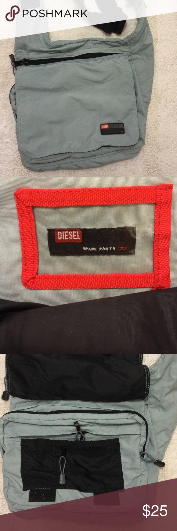 Diesel Crossbody/Messenger Bag Diesel bag, very functional, 5 pockets, 4 with zippers, light bluish gray. Diesel Bags Crossbody Bags