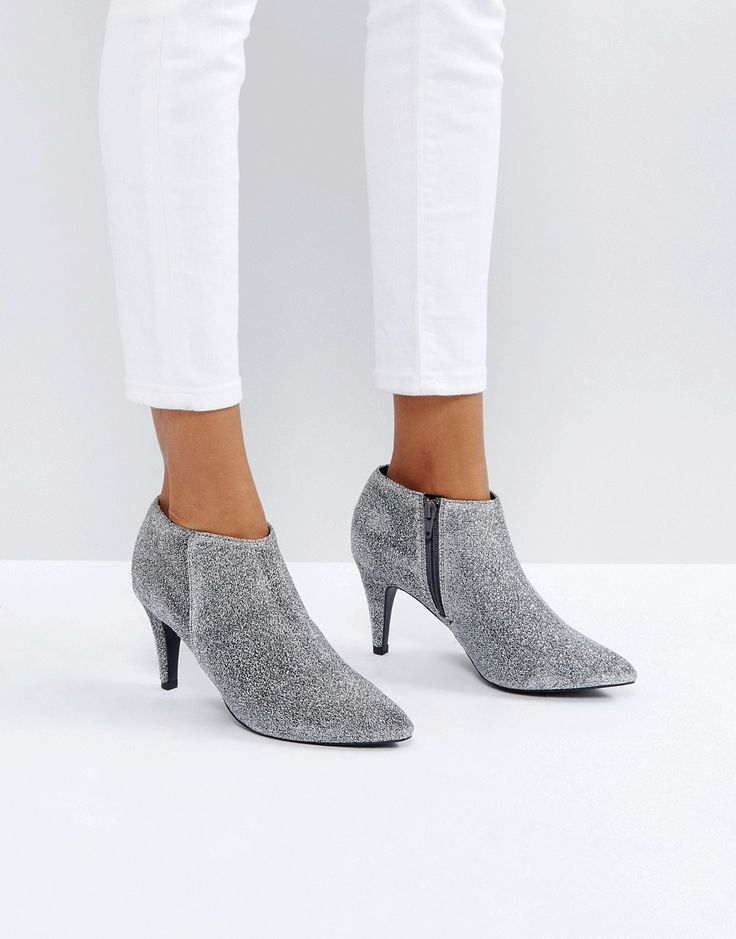 NEW LOOK GLITTER HEELED BOOT - SILVER. #newlook #shoes #