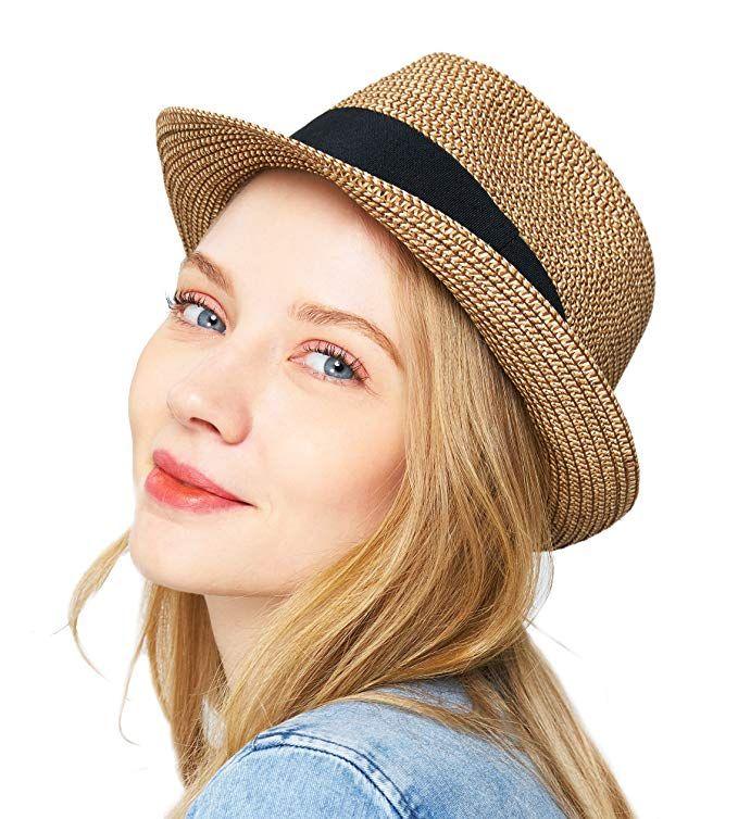 e449db749 EUPHIE YING Women Summer Fedora Beach Sun Hats Short Brim Review ...