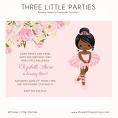 Tutu Ballerina Birthday Invitation, Ballet Party, Ballerina Invitation, Pink, mint, Invitación de Bailarina, Tutu Birthday Invitation by ThreeLittleParties on Etsy https://www.etsy.com/listing/292990055/tutu-ballerina-birthday-invitation