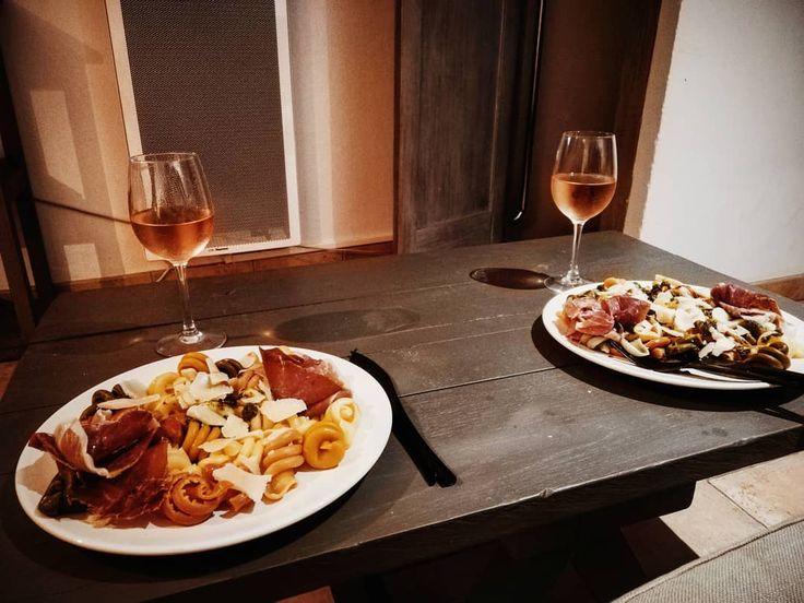 Nights In! 🍷💕🍷 × × × × × #nightin #dinner #pasta #colorful #wine #…
