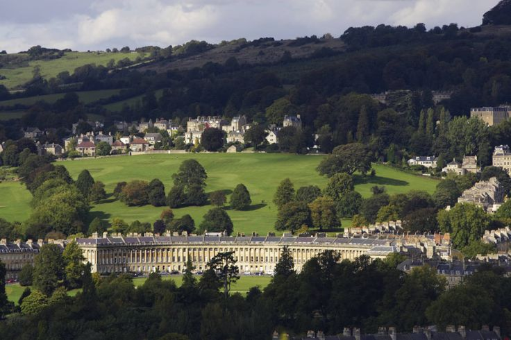 The Royal Crescent in Bath. The city it set like a gem in the surrounding Somerset hills.