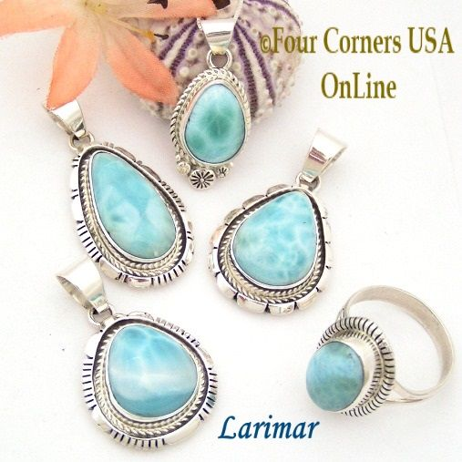 Larimar Jewelry by Navajo Robert Concho and Shirley Henry Four Corners USA OnLine http://stores.fourcornersusaonline.com/news/larimar-navajo-silver-jewelry/
