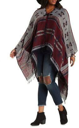 Plus Size Aztec Print Blanket Cardigan - Shop for women's Cardigan