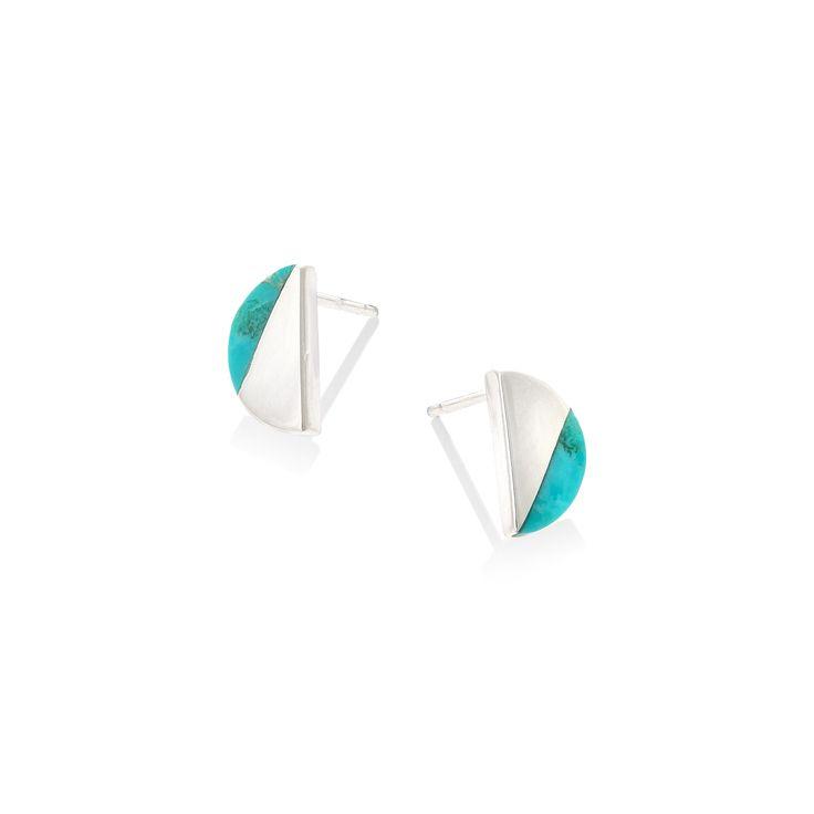 Silver Semi Circle Slice Stud Earrings | Oliver Bonas